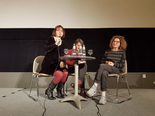Screenwriter Valia Santella and I during the debate after the German Premiere of Fai bei sogni by Marco Bellocchio (2017)